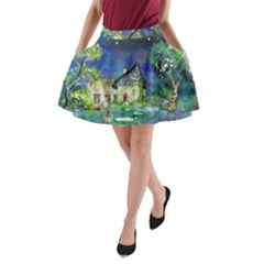 Background Fairy Tale Watercolor A Line Pocket Skirt by Nexatart