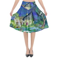 Background Fairy Tale Watercolor Flared Midi Skirt by Nexatart