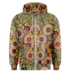 Flower Butterfly Cubism Mosaic Men s Zipper Hoodie