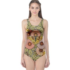 Flower Butterfly Cubism Mosaic One Piece Swimsuit