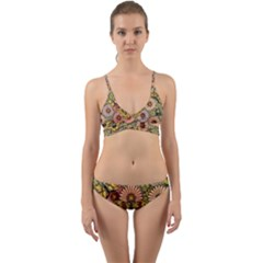 Flower Butterfly Cubism Mosaic Wrap Around Bikini Set