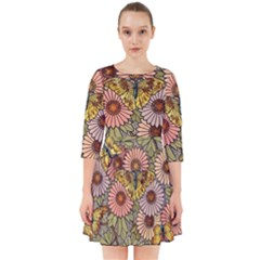 Flower Butterfly Cubism Mosaic Smock Dress