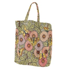 Flower Butterfly Cubism Mosaic Giant Grocery Zipper Tote
