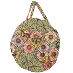 Flower Butterfly Cubism Mosaic Giant Round Zipper Tote