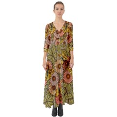 Flower Butterfly Cubism Mosaic Button Up Boho Maxi Dress by Nexatart
