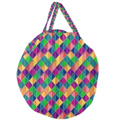 Background Geometric Triangle Giant Round Zipper Tote