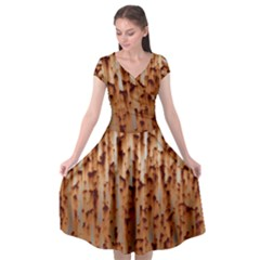 Stainless Rusty Metal Iron Old Cap Sleeve Wrap Front Dress