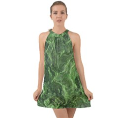 Green Geological Surface Background Halter Tie Back Chiffon Dress