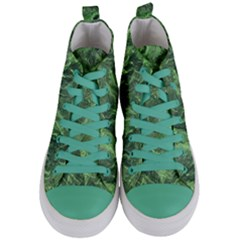 Green Geological Surface Background Women s Mid Top Canvas Sneakers