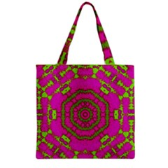 Fern Forest Star Mandala Decorative Grocery Tote Bag by pepitasart