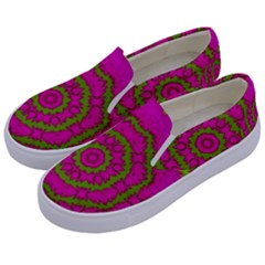 Fern Forest Star Mandala Decorative Kids  Canvas Slip Ons by pepitasart