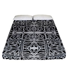 Dark Oriental Ornate Pattern Fitted Sheet (queen Size) by dflcprints