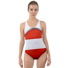 Austria Country Nation Flag Cut Out Back One Piece Swimsuit