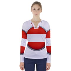 Austria Country Nation Flag V Neck Long Sleeve Top
