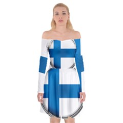 Finland Country Flag Countries Off Shoulder Skater Dress