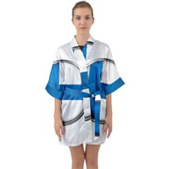 Finland Country Flag Countries Quarter Sleeve Kimono Robe