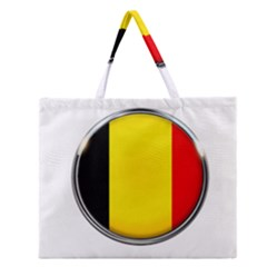 Belgium Flag Country Brussels Zipper Large Tote Bag