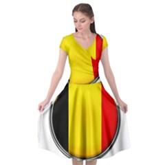 Belgium Flag Country Brussels Cap Sleeve Wrap Front Dress