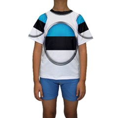 Estonia Country Flag Countries Kids  Short Sleeve Swimwear