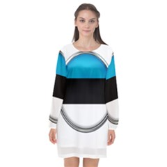 Estonia Country Flag Countries Long Sleeve Chiffon Shift Dress