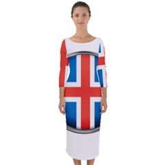 Iceland Flag Europe National Quarter Sleeve Midi Bodycon Dress
