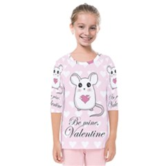 Cute Mouse   Valentines Day Kids  Quarter Sleeve Raglan Tee