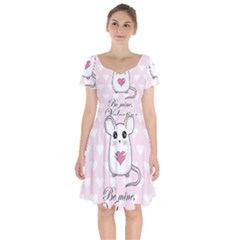 Cute Mouse   Valentines Day Short Sleeve Bardot Dress