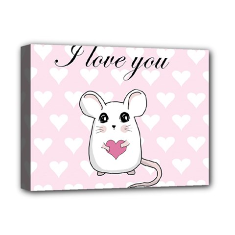 Cute Mouse   Valentines Day Deluxe Canvas 16  X 12   by Valentinaart