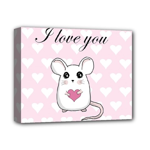 Cute Mouse   Valentines Day Deluxe Canvas 14  X 11