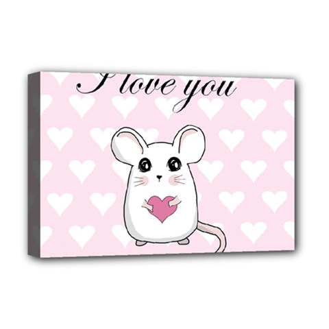 Cute Mouse   Valentines Day Deluxe Canvas 18  X 12