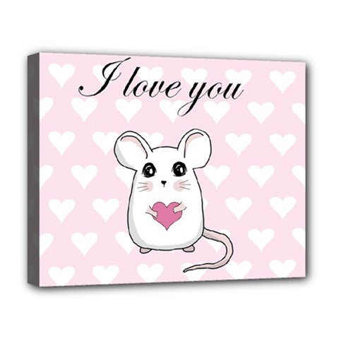 Cute Mouse   Valentines Day Deluxe Canvas 20  X 16   by Valentinaart
