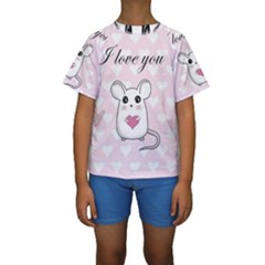 Cute Mouse - Valentines Day Kids  Short Sleeve Swimwear by Valentinaart