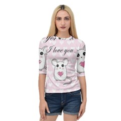Cute Mouse   Valentines Day Quarter Sleeve Raglan Tee