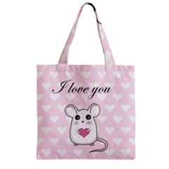 Cute Mouse   Valentines Day Zipper Grocery Tote Bag by Valentinaart