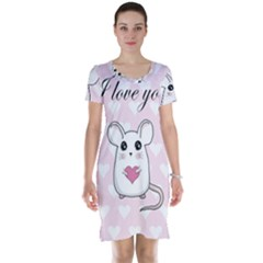 Cute Mouse   Valentines Day Short Sleeve Nightdress