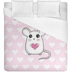 Cute Mouse   Valentines Day Duvet Cover (king Size)