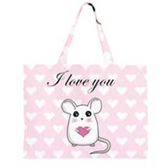 Cute Mouse   Valentines Day Zipper Large Tote Bag