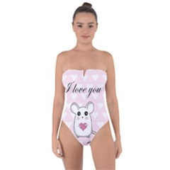 Cute Mouse   Valentines Day Tie Back One Piece Swimsuit
