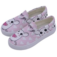 Cute Mouse   Valentines Day Kids  Canvas Slip Ons by Valentinaart