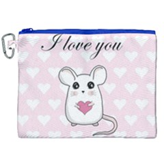 Cute Mouse   Valentines Day Canvas Cosmetic Bag (xxl) by Valentinaart