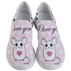 Cute Mouse   Valentines Day Women s Lightweight Slip Ons by Valentinaart