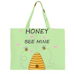 Bee Mine Valentines Day Zipper Large Tote Bag by Valentinaart