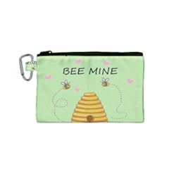 Bee Mine Valentines Day Canvas Cosmetic Bag (small) by Valentinaart