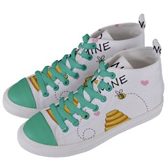 Bee Mine Valentines Day Women s Mid Top Canvas Sneakers by Valentinaart