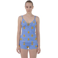 Bee Pattern Tie Front Two Piece Tankini