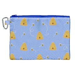 Bee Pattern Canvas Cosmetic Bag (xl) by Valentinaart