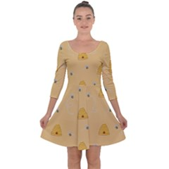 Bee Pattern Quarter Sleeve Skater Dress by Valentinaart