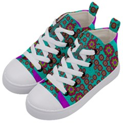 The Worlds Most Beautiful Flower Shower On The Sky Kid s Mid Top Canvas Sneakers by pepitasart