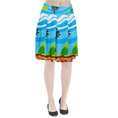 Landscape Background Nature Sky Pleated Skirt