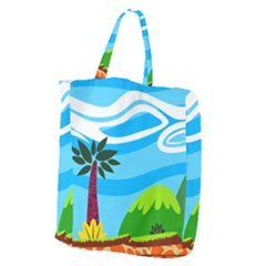 Landscape Background Nature Sky Giant Grocery Zipper Tote